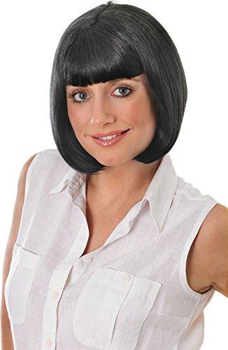 Femme Déguisement Célébrités Fête De Noël Faux Artificiel Cheveux Carré Court Mia Perruque - Noir, Taille Unique