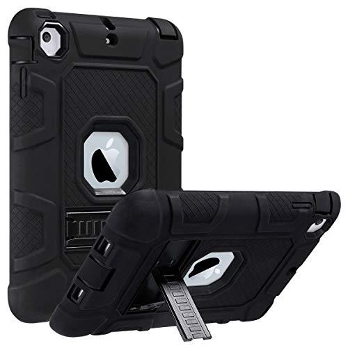 ULAK iPad Mini 1/2/3 Hülle, [Armor Serie] Stoßfest Schutzhülle mit Kickstand 3 in 1 Soft Silikon + Hart PC Tasche Standfunktion case Cover für Apple iPad Mini/Mini 2/Mini 3 - Schwarz