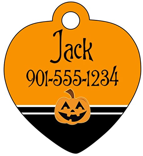 uDesignUSA Halloween Themed Pet Id Tag for Dogs & Cats Personalized w/Name & Number (Pumpkin, Heart 1.25x1.375)