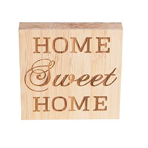 EQLEF Home Sweet Home Madera casera Dulce casera Decoración casera Muestra Bloque de bambú Decoraciones caseras