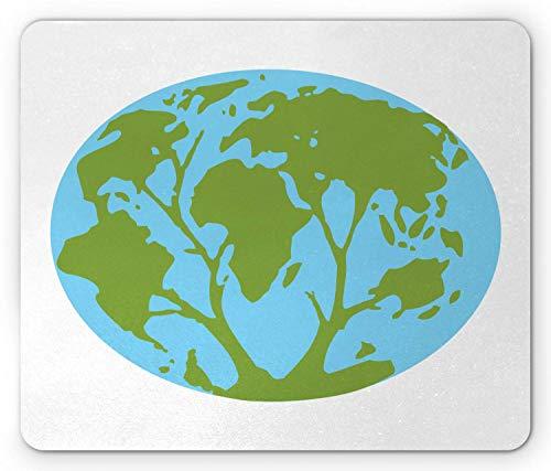 Spiel Mauspad,Mausmatte,Biologie Mauspad,Ökologie Umwelt Bäume Retten Naturthema Erde Planet Kontinente,Matte Mäuse Mousepad Gaming Mauspads Für Büro & Zuhause,Blau Olivgrün Weiß