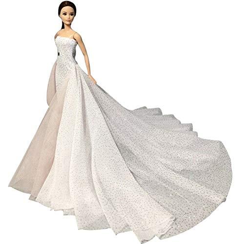LANBOWO Vestidos de muñeca para muñecas Barbie niña, blanco de 11.5 pulgadas de moda vestido de fiesta de boda exquisito vestido hecho a mano para muñeca ropa fiesta