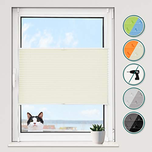 Grandekor *Klemmfix Plissee Jalousien ohne Bohren Faltrollos für Fenster Sonnenschutz - Beige 35x100 (BxH) - Easyfix Montage mit Klemmträger