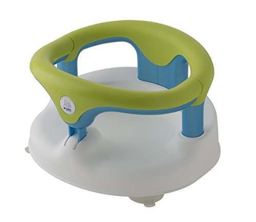 Rotho Babydesign Siège de Bain, Avec Anneau Rabattable et Sécurité Enfants, 7-16 mois, Jusqu'à max. 13kg, Sans BPA, 35x31,3x22cm, Blanc/Vert Pomme/Turquoise