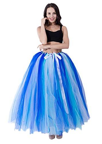 URVIP Damen's Rock Tutu Tuturock Tütü Petticoat Tüllrock mit Gummizug für Karneval, Party und Hochzeit Rötlich-Blau Minze und Weiß One Size