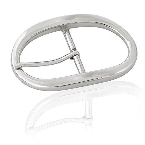 Gürtelschnalle Buckle 40mm Metall Silber Poliert - Buckle Ellipse - Dornschliesse Für Gürtel Mit 4cm Breite - Silberfarben Poliert