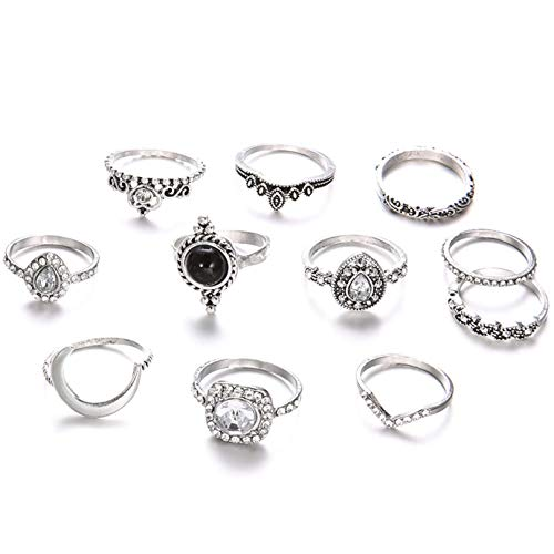 Joyería de joyería retro bohemia corona cristal luna corazón geometría plata anillo mujer fiesta joyería tipo metal: ninguna, tamaño del anillo: ninguno