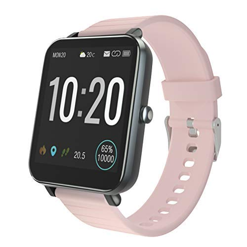 YIRSUR Smartwatch Fitness Tracker, 5 ATM wasserdichte Smart Watch herrenuhr Armbanduhr Sportuhr mit Herzfrequenz Schlaftracker für Damen Herren Kinder Kompatibel mit Android IOS (Rosa)