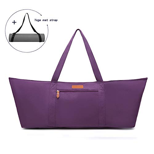 ELENTURE Large Yoga Mat Tote Bag with Multi-Functional Storage Pockets for Sports Gym Pilates (Purple)