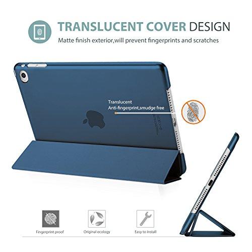 ProCase iPad Air 2 Ultra Dünn Smart Hülle, Leichte Stand Schutzhülle Shell mit Translucent Frosted Rückhülle für Apple iPad Air 2 (A1566 A1567) –Navy