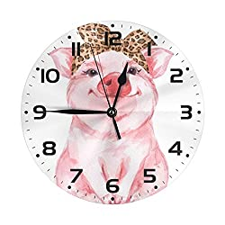 FeHuew Cartoon Animal Pig Decorative Round Wall Clock 9.5 Inch Non Ticking Battery Operated for Student Office School Home Decor Silent Desk Clock Art