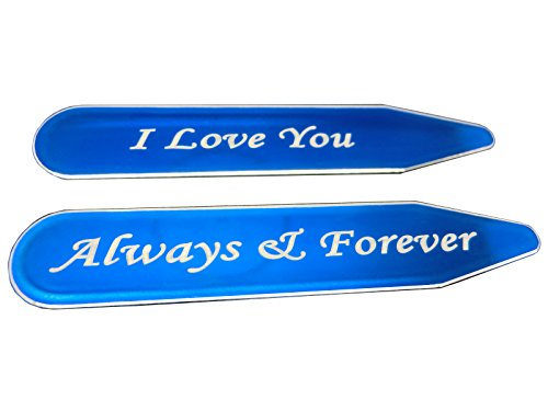 Shang Zun 2 pcs Blue Metal Collar Stays'I Love You Always & Forever' for Men