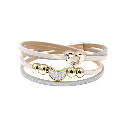 GUOZHIJUN Lederen Mode Kralen Armbanden Maan Dolfijn Bedel Armbanden Voor Vrouwen Boheemse Stijl Armband Sieraden