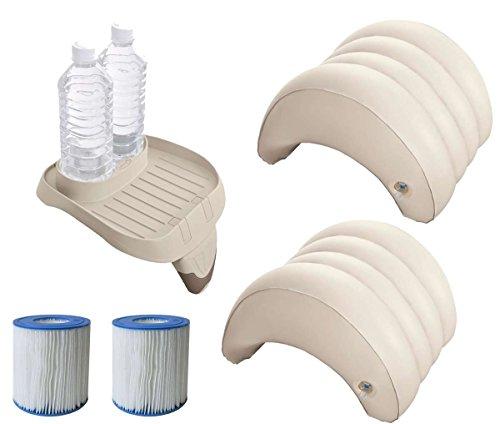 harren24 Zubehör-Set 5-teilig kompatibel mit Intex PureSpa Whirlpools (2X Filter S1, 1x Tablett 28500, 2X Kopfstützen 28501)