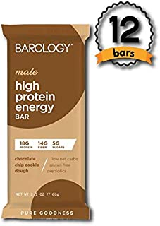 Barology High Protein Energy Bar for Men (Pack of 12) Delicious Chocolate Chip Cookie Dough, Low Sugar, 11g Net Carbs, 18g High Protein, 14g Fiber, Gluten Free, Prebiotics, 2.1 oz Bar