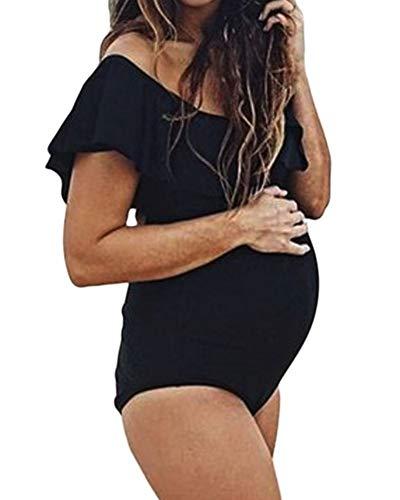 Premamá Bañadores Talla Grande Mujer Traje De Baño De Una Piezas Push Up Bikinis Negro S