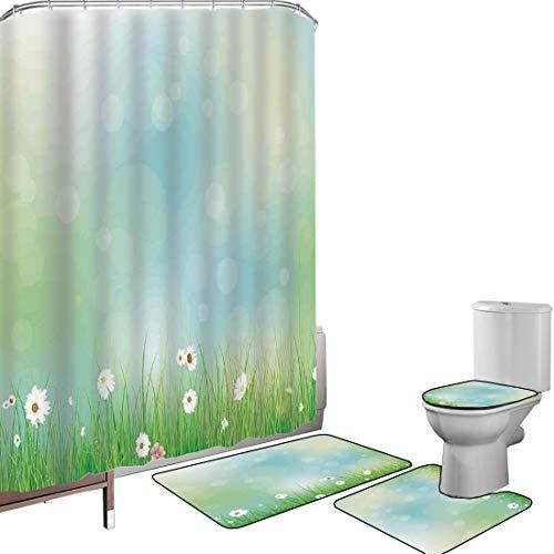 Duschvorhang Set Badezimmerzubehör Teppich Aquarell Blume Badematte Contour Teppich Teppichbezug Feenhaftes Frühlings-Blüten-Muster mit Digital gemachtem Explosions-Eierstock,grünes Blau Rutschfest wa