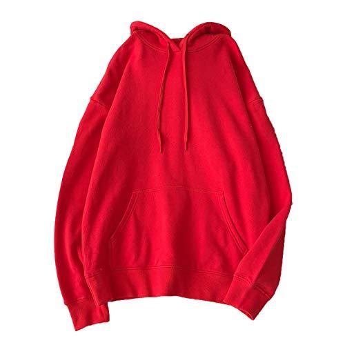 Sudaderas para mujer Sólido 12 Colores Coreano Femenino Con Capucha Pullovers 2020 Algodón Espesar Caliente Oversize Sudaderas Mujeres-Rojo-XXL