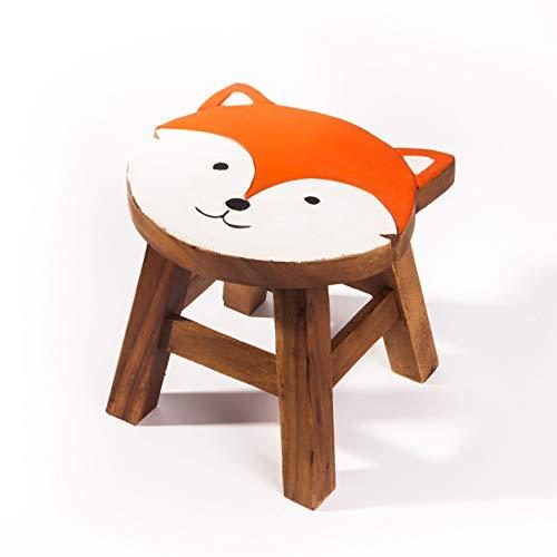 Kinderhocker, Schemel, Kinderstuhl massiv aus Holz mit Motiv Fuchs, 25 cm Sitzhöhe für unsere Kindersitzgruppe
