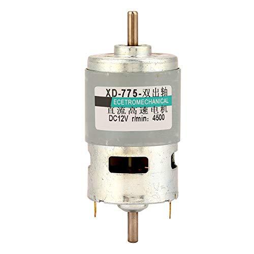Motor de corriente continua, motor de eje doble de alambre de cobre puro 775 DC24V 12V Motor de mandril de riel para equipo de seguridad(12V4500RPM, Sin soporte)