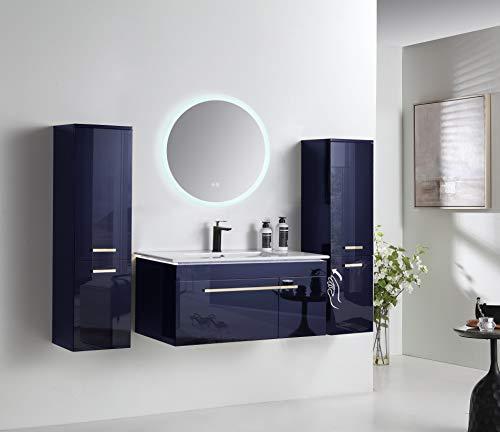 Passion Badmöbel Set 90 cm komplett Vormontiert Königsblau mit LED Spiegel undHeizplatte (Beschlagfreier-Funktion) LED Unterschrank Bad komplett mit Badeschrank