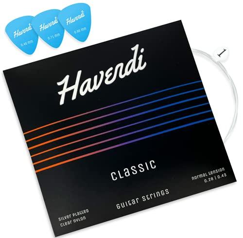 HAVENDI® Premium Gitarrensaiten Konzertgitarre - brillante Klangqualität aus langlebigem Nylon und Silber für klassische Gitarre | Akustikgitarre (6 Saiten-Set) inkl. 3 Plektren