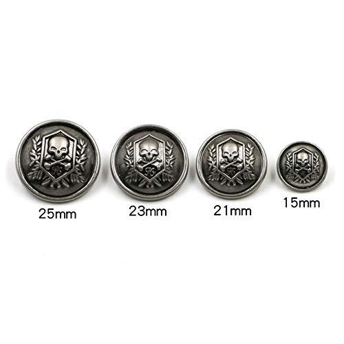 Shuang Dong 11 Pieces Silver Vintage Antique Metal Blazer Button Set - 3D Lion Head - for Blazer, Suits, Sport Coat, Uniform, Jacket 15mm 20mm