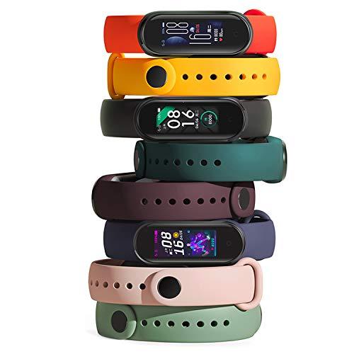 Th-some Correa para Xiaomi Mi Band 5/Xiaomi Mi Band 6, Correa Silicona Suave Reemplazable Pulsera, Agujero de Aire Transpirable Colorido Suave Silicona Bracelet de Repuesto Deportivo