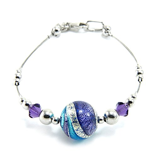 Woman's bracelet in 925 silver rhodium plated, Murano glass enhanced by a white gold leaf (made in Florence) and Swarovski crystals. BFR046/W07