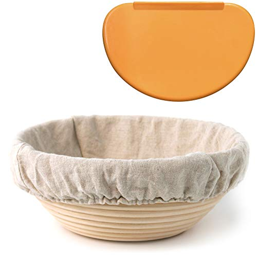 """Banneton Proofing Basket 8.5"""" Round – with Brotform Cloth Liner for Starter Rising Dough & Flexible Bowl Scraper for Shaping Sourdough Loaf 