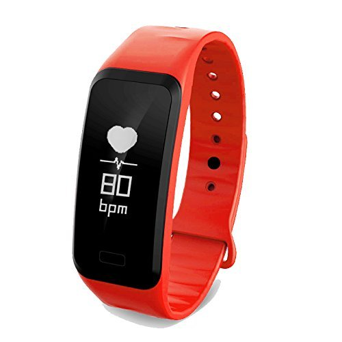 Fitness Tracker Bluetooth Smart Watch Waterproof Sport Pedometer Life Reminder Sleep Monitoring Lightweight Business Wristband Android and IOS Y11 Red