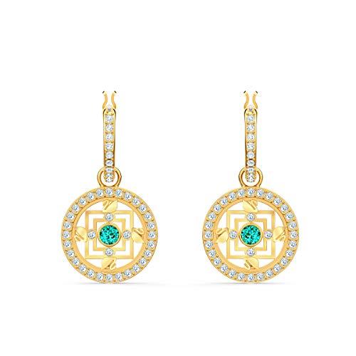 Swarovski Orecchini A Cerchio Symbolic Mandala, Verde, Placcato Color Oro