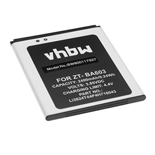 vhbw Li-Ion batería 2400mAh (3.85V) para móvil Smartphone teléfono ZTE BA520, BA603, Blade A520, Blade A520C, Blade A520C Dual SIM