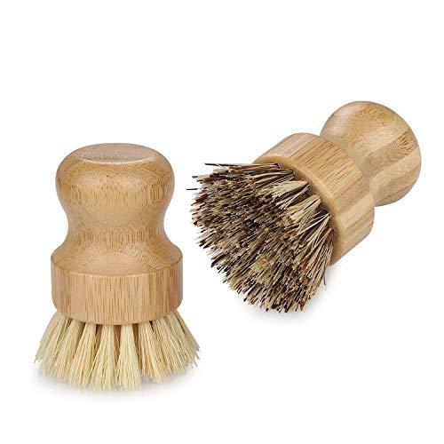JIZZU 2 Pcs Cepillo Fregar Platos de Bambú, Cepillo Bambú,