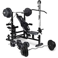 Trex vikt bänk hydromy 075 med lat pull, hantel set – barbell, curl bar, hantlar och vikter 50kg till 160kg (110kg + lång/ curl / kort hantel)