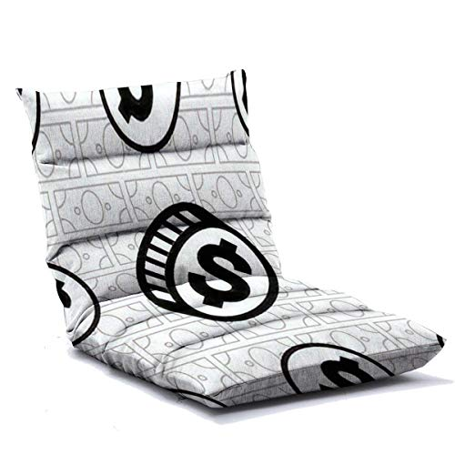 Floor Lounger Adjustable Floor Chair Money Vector Seamless Pattern Dollar Coins Endless Background Black Memory Foam Folding Floor Sofa Lounge Chair for Adults Home Office Reading Watching Video Game