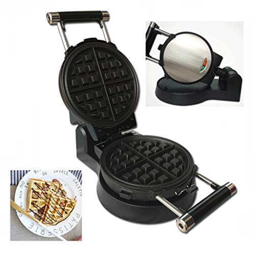 JSJYP Spin Stainless Steel Waffle Maker with Anti-scalding Handle,Four Slice Waffle Maker Iron, 1000W,Make 2cm Thick Waffles,Non-Stick Deep-Fill Removable Plates Golden Snacks
