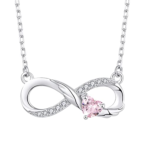 STARCHENIE Infinity Necklace 925 Sterling Silver Angel Wings Heart Birthstone Necklace for Women October Pink Tourmaline