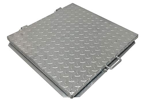 Couvercle de regard pour cuve en acier galvanisé et larmé, 40x40 cm