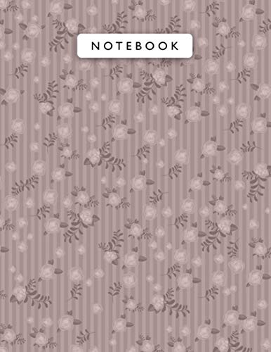 Notebook Rosy Brown Color Small Vintage Rose Flowers Mini Lines Patterns Cover Lined Journal: 110 Pages, Monthly, Work List, Pla