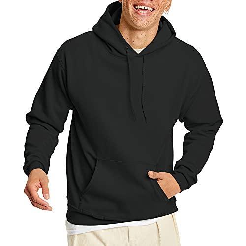 Hanes Men's Pullover EcoSmart Hooded Sweatshirt, Black, Medium