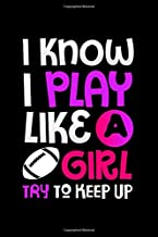 Notebook: Womens Football Lover Gift - I Know I Play Like Girl Black Lined College Ruled Journal - Writing Diary 120 Pages