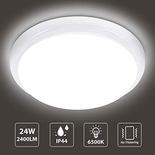 Oraymin 24W LED Deckenleuchte Rund, 2400lm Ø30*6.5cm IP44 6500K Kaltweiß Wasserfest Deckenlampe, Lampen ideal für Badezimmer, Schlafzimmer, Wohnzimmer, Küche, Balkon,Flur, Badezimmerlampe
