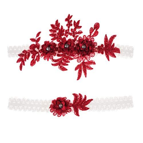 Amosfun 2 ligueros elásticos de encaje con flores y diamantes de imitación, para dama de honor, boda, decoración, color rojo vino
