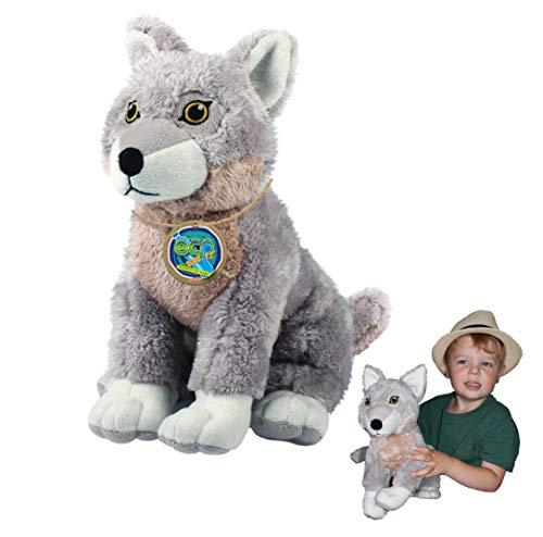 EcoBuddiez - Lobo de Deluxebase. Peluche Grande de 30 cm elaborado con Botellas de plástico recicladas. Lindo Peluche ecológico con Forma de animalito para niños pequeños