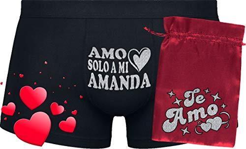 Amo Solo a mi Amanda | Boxers Black & red Bag '' Te Amo''