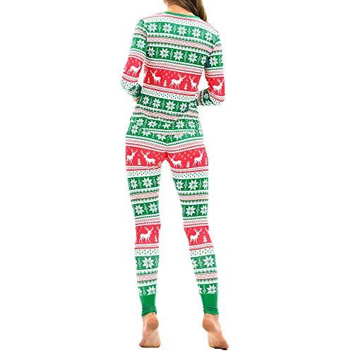 WHSHINE Damen Jumpsuit Pyjama Frauen Winter Warm Langarm Jumpsuit 3D Weihnachten Elch Drucken Jumpsuit Overall (Grün) - 4