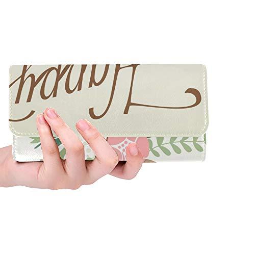 Einzigartige benutzerdefinierte Geburtstagskarte Tafel Kalligraphie Stil niedliche Frauen Trifold Wallet Lange Geldbörse Kreditkarteninhaber Fall Handtasche