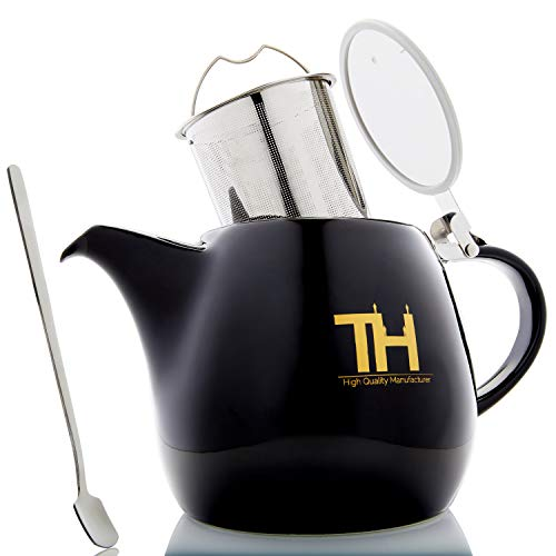 Thiru Teekanne mit Siebeinsatz | 1200ml | Tropffreier Teebereiter (1,2 Liter)