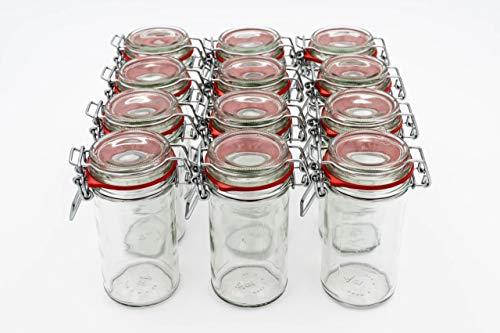 Flaschenbauer- 12 Drahtbügelgläser 277ml verwendbar als Einmachglas, zu Aufbewahrung, schmale Gläser zum Befüllen, Leere Gläser mit Drahtbügel